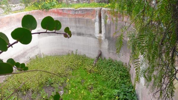 Un énorme bassin dans l'une des propriétés. Très dangereux, car au moins 4 ou 5 mètres de haut et aucun moyen d'en sortir - dans une zone totalement déserte !